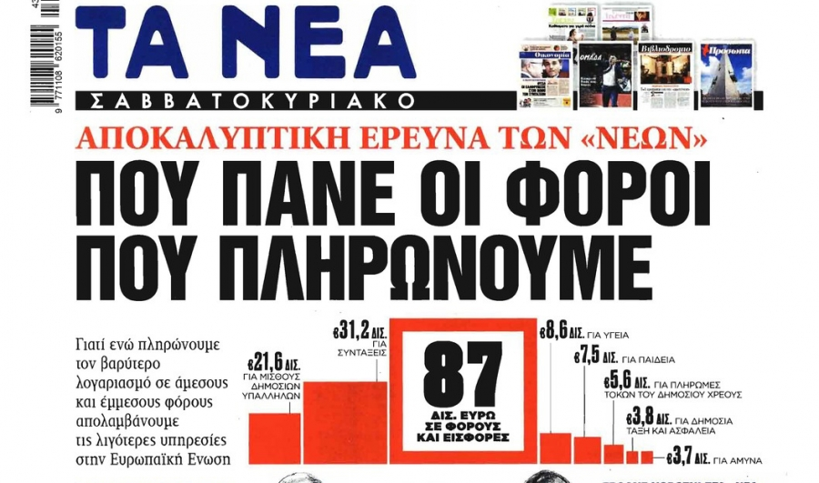 "KEFiM on the front page of ""TA NEA"""